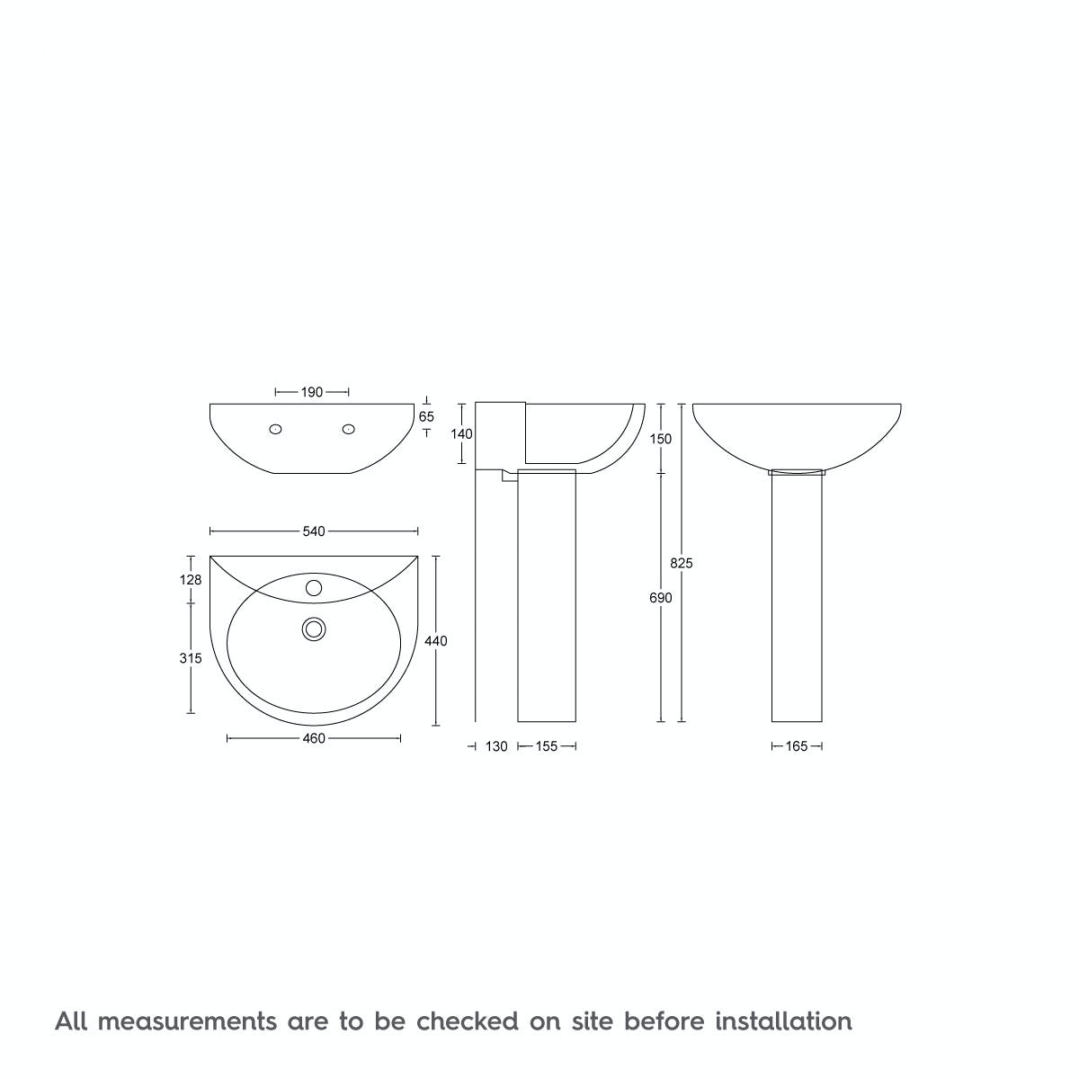 Dimensions for Clarity 1 tap hole full pedestal basin 540mm