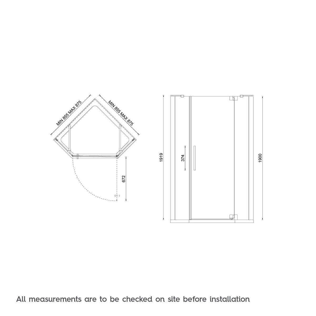 Dimensions for Mode luxury 8mm right handed frameless hinged pentagonal shower enclosure 900 x 900