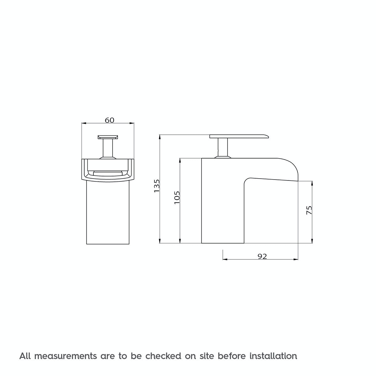 Dimensions for Mode Reinosa waterfall basin mixer tap