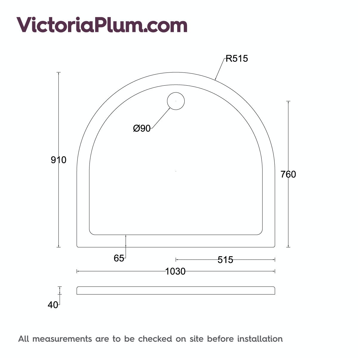 Dimensions For Orchard D Shaped Stone Shower Tray