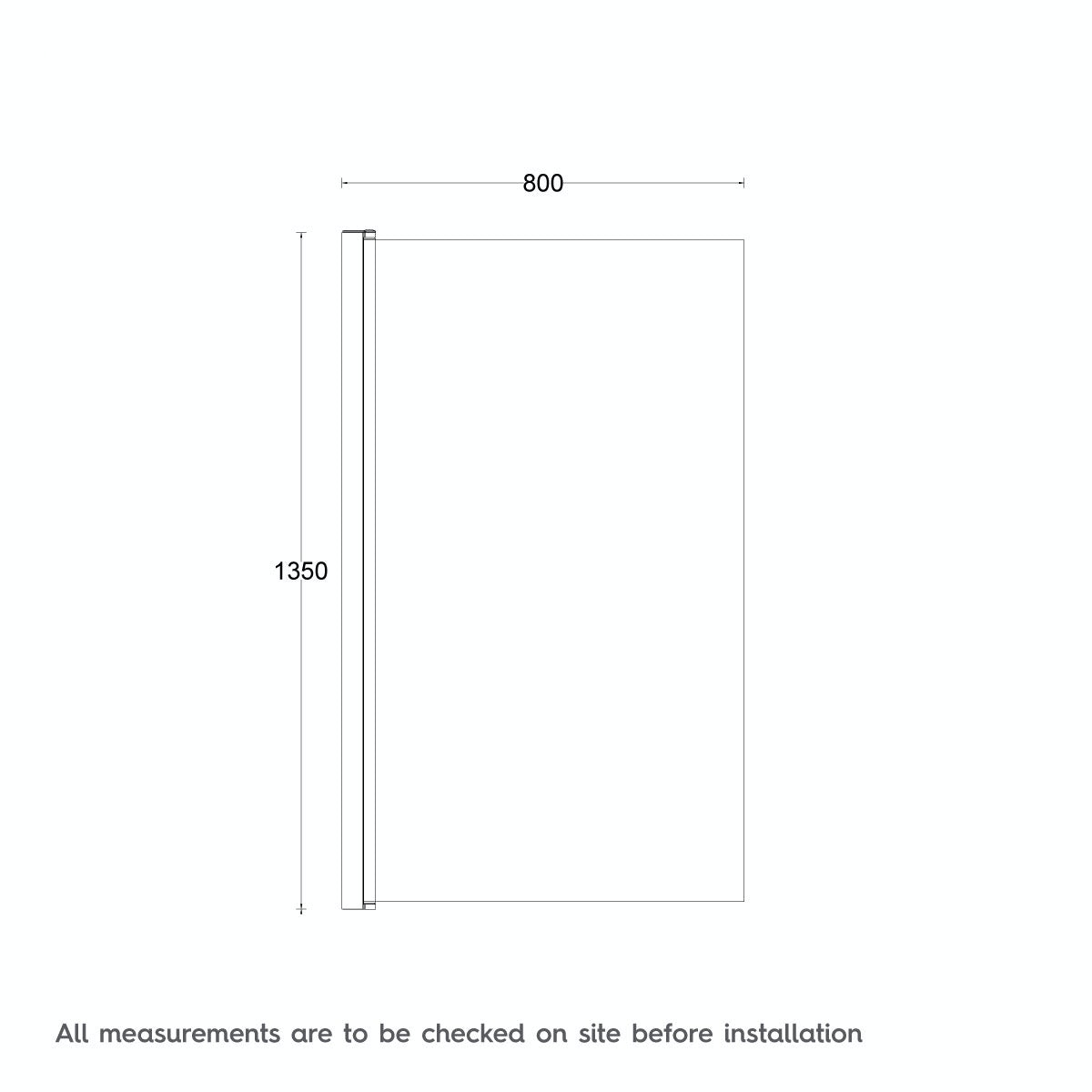 Dimensions for Mode Maine shower bath screen