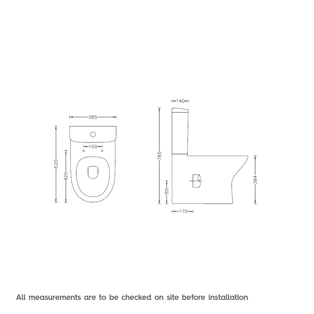 Dimensions for Mode Fairbanks close coupled toilet with soft close toilet seat