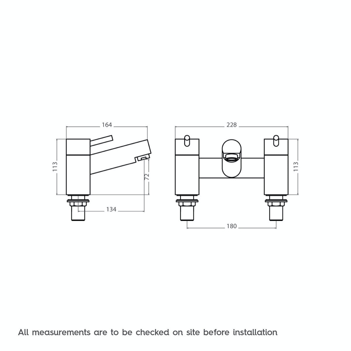 Dimensions for Orchard Wharfe bath mixer tap