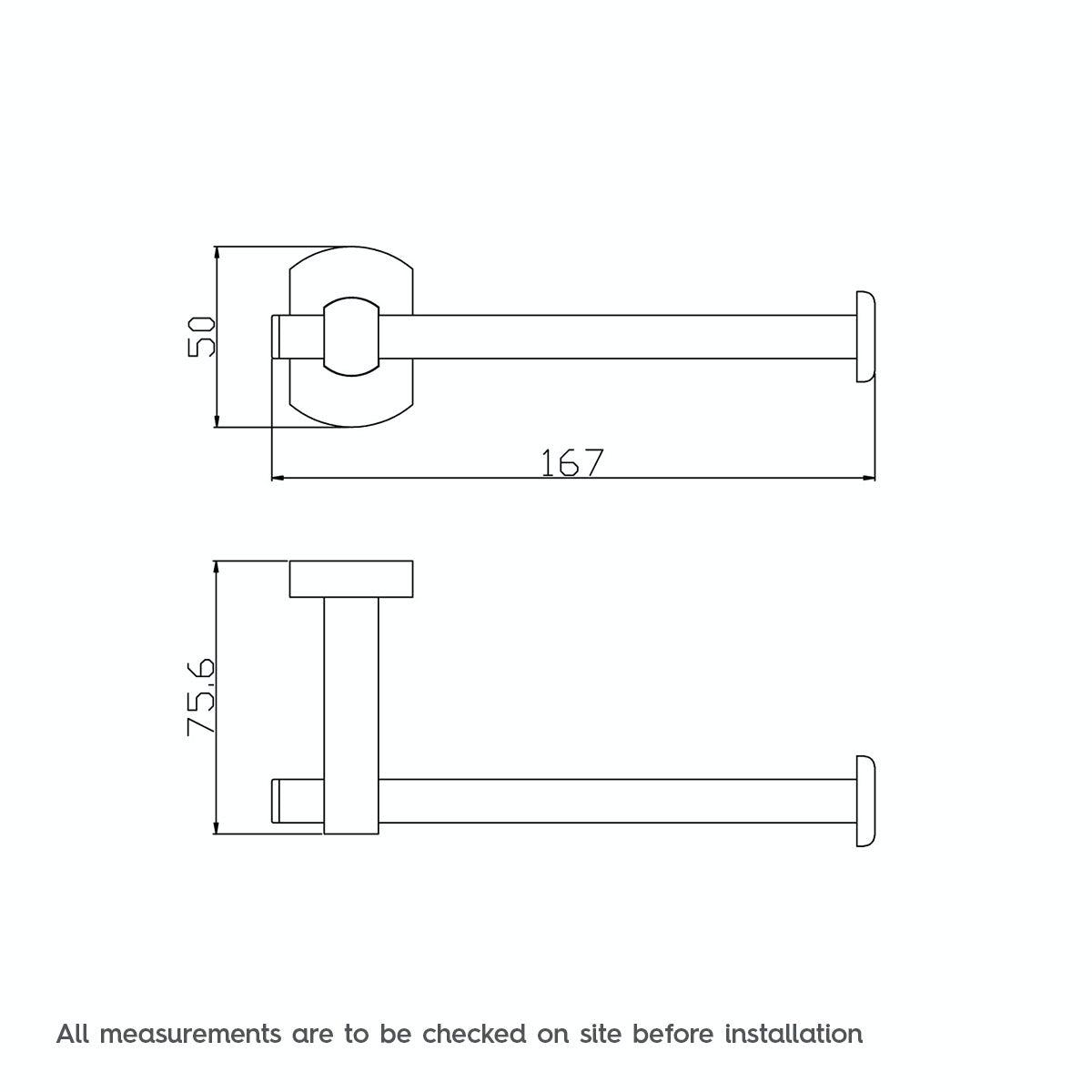 Dimensions for Solar toilet roll holder