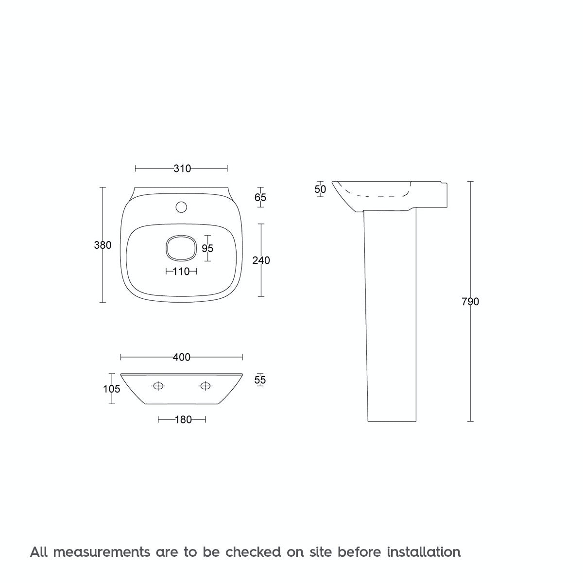 Dimensions for Mode Heath 1 tap hole full pedestal basin 400mm