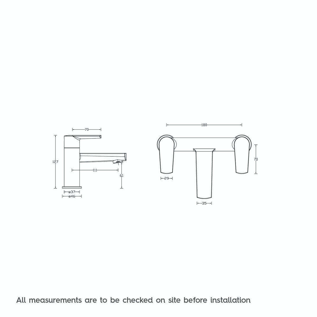 Dimensions for Langdale bath mixer tap