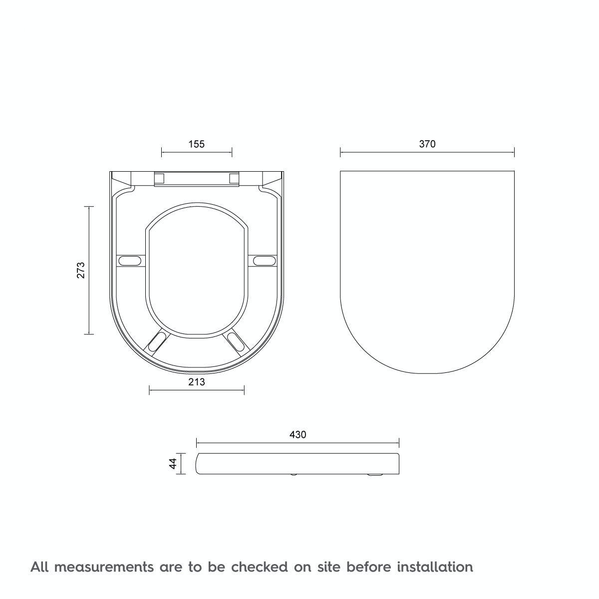 Dimensions for D Shape Thermoset Top Fix Seat with  Stainless Steel Soft Close and Lift Off