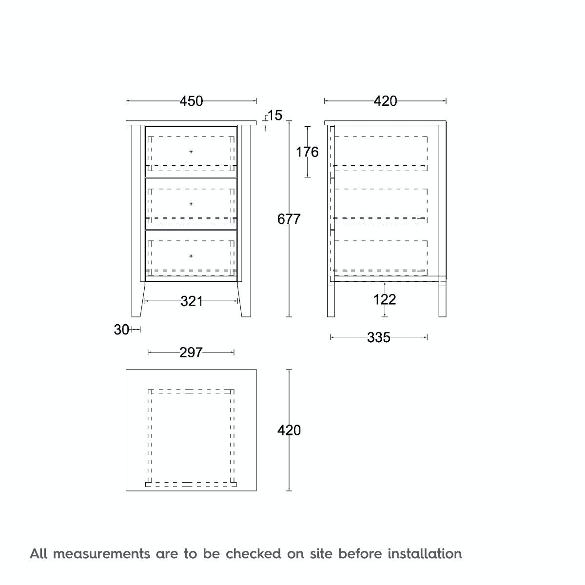 Dimensions for MFI Sydney white oak 3 drawer bedside