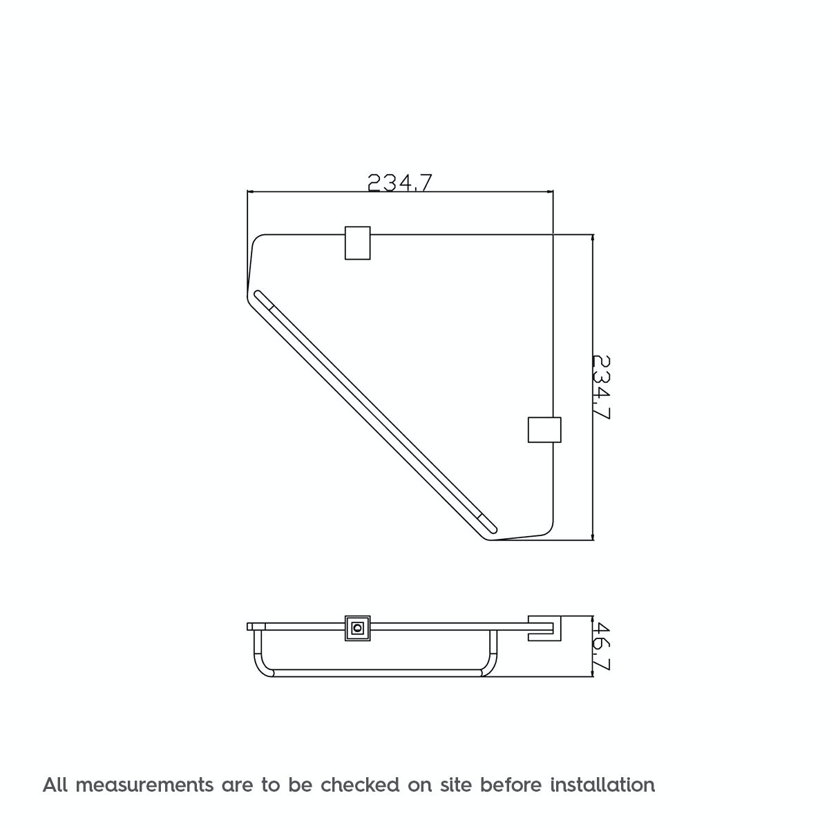 Dimensions for Orchard Options squared corner glass shelf