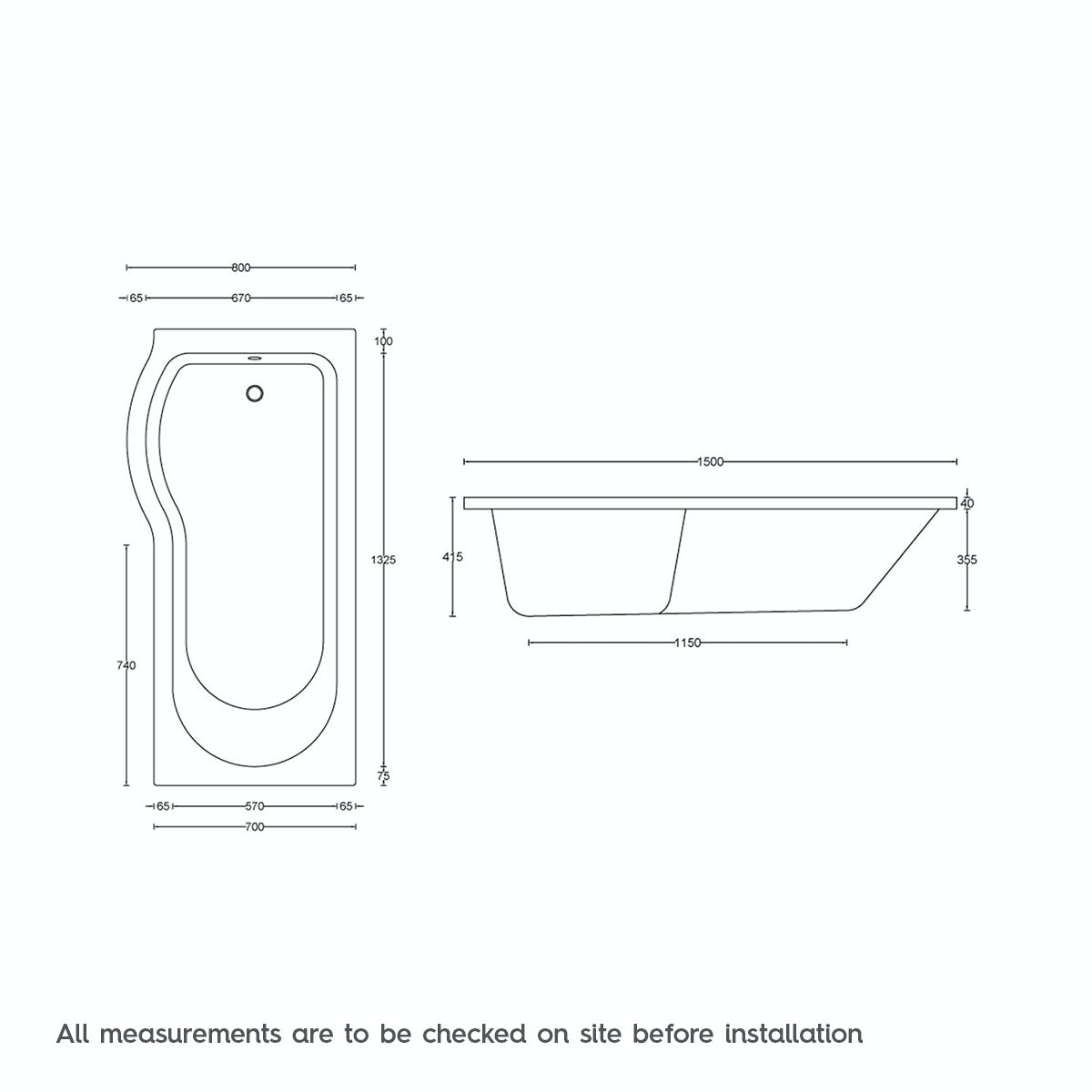 Dimensions for 1500 x 800