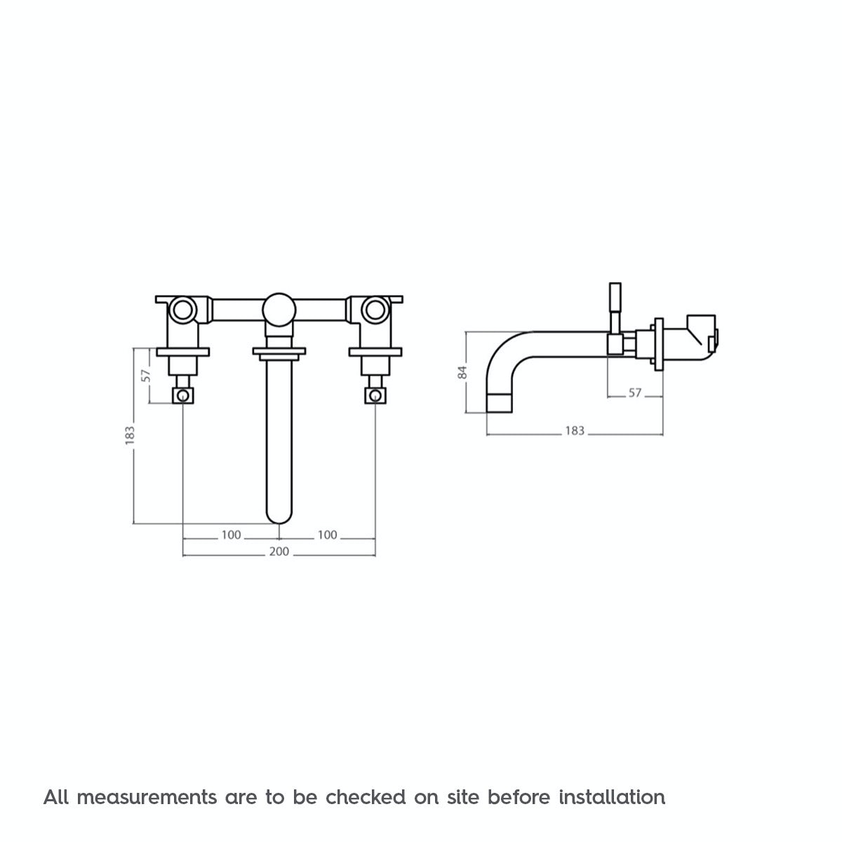 Dimensions for Mode Harrison wall mounted basin mixer tap