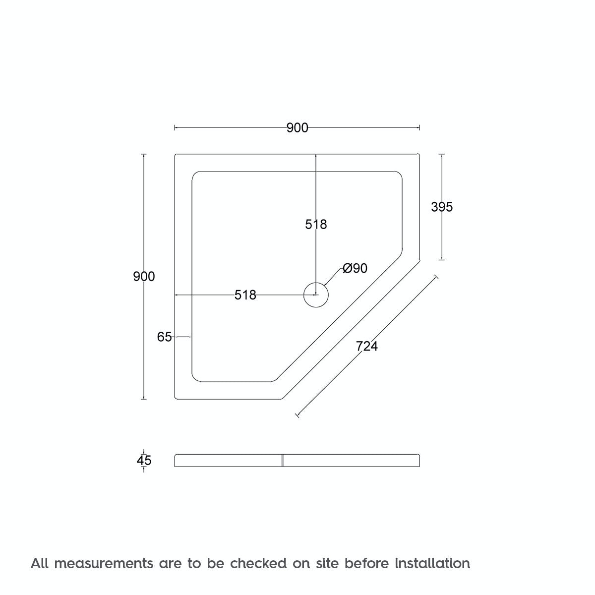 Dimensions for Orchard Pentagonal stone shower tray 900 x 900