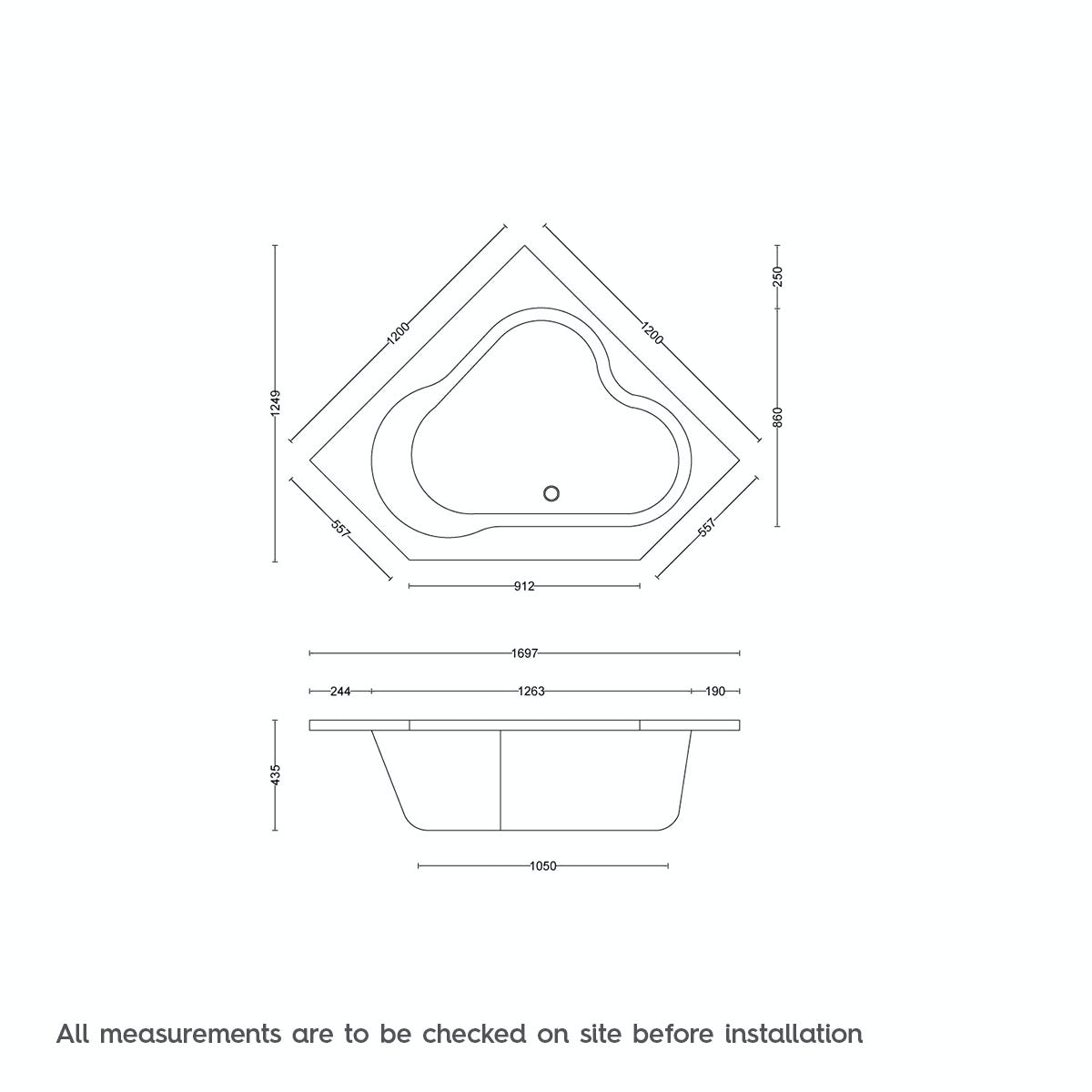 Dimensions for Orchard Wharfe corner bath