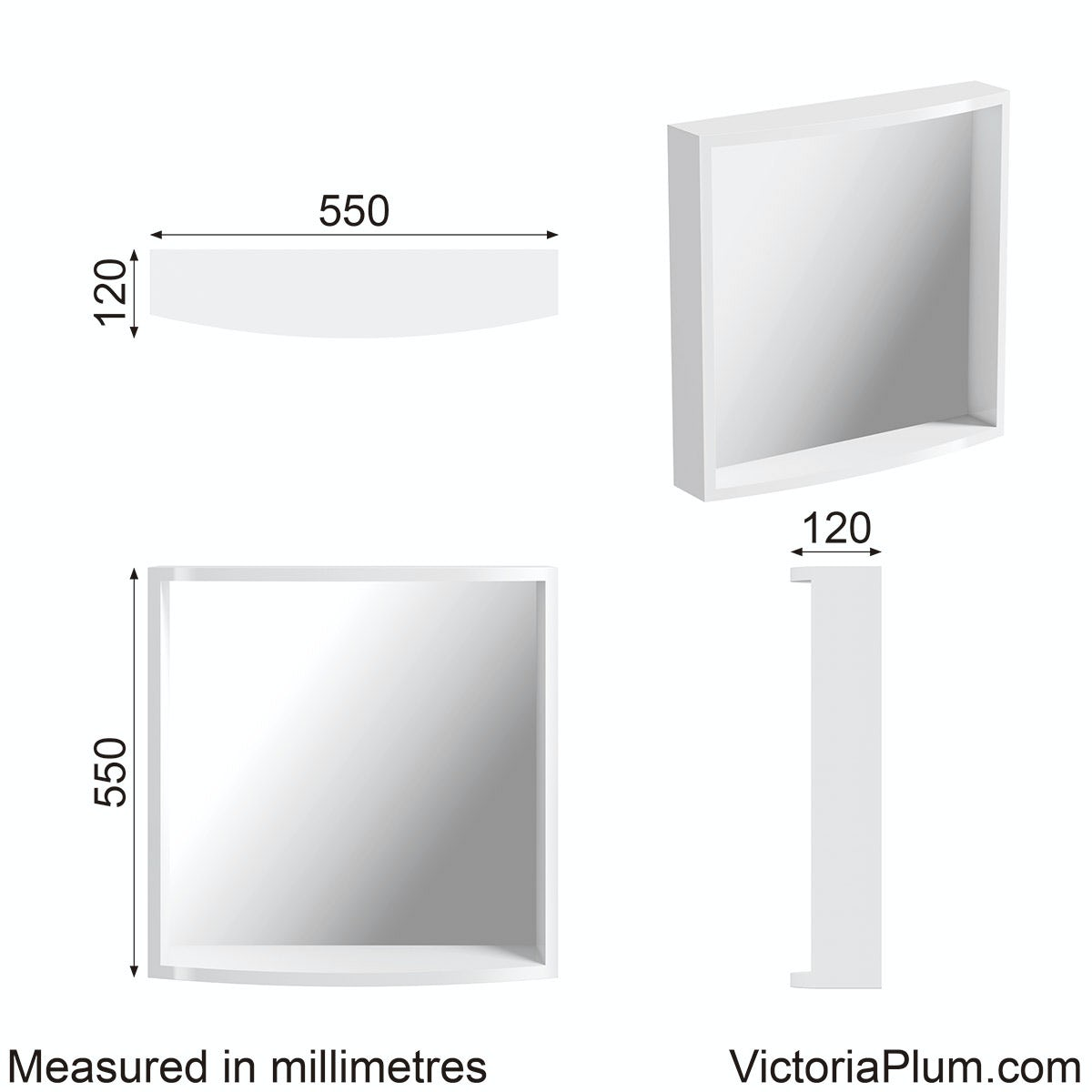 Dimensions for Mode Harrison snow bathroom mirror