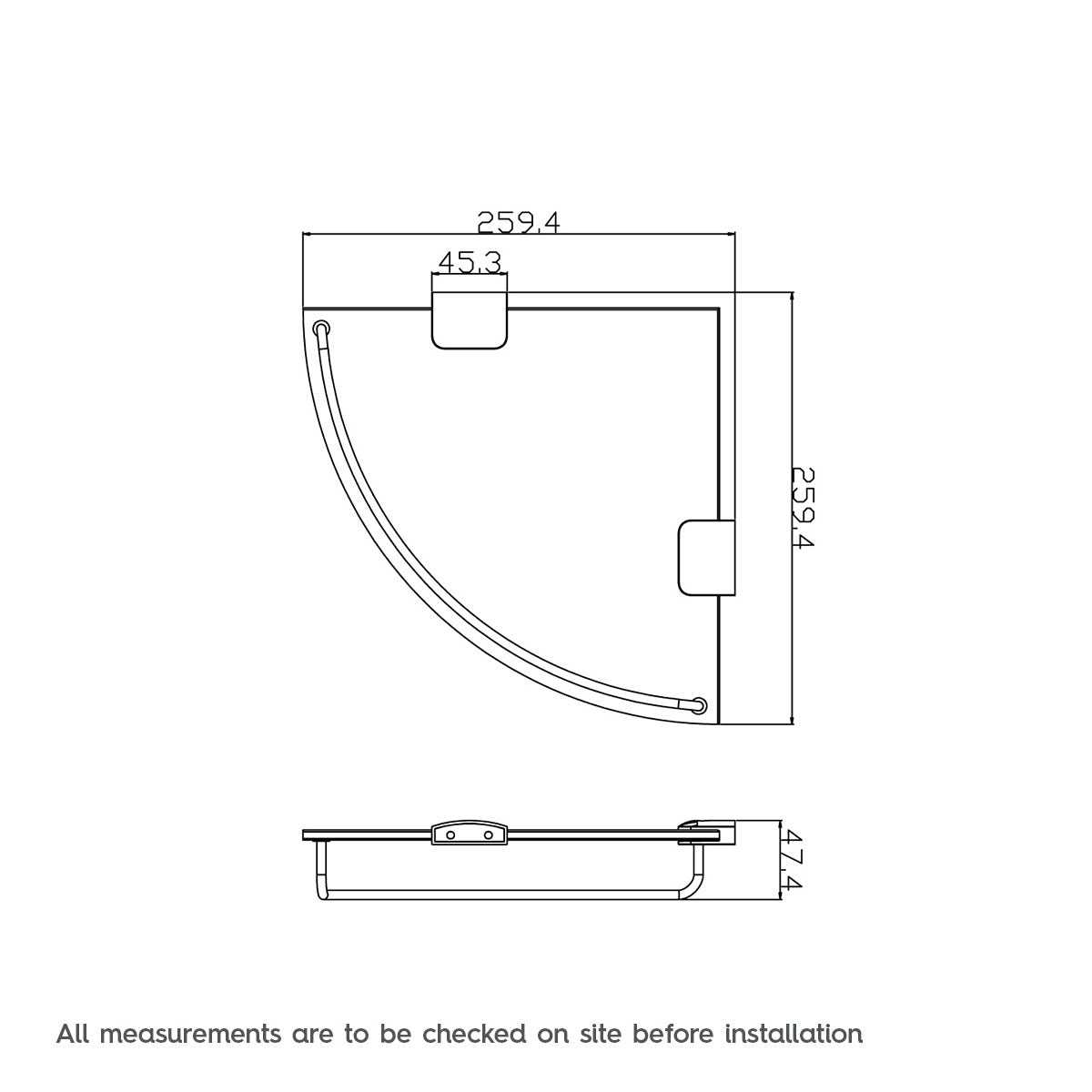 Dimensions for Orchard Options round corner glass shelf