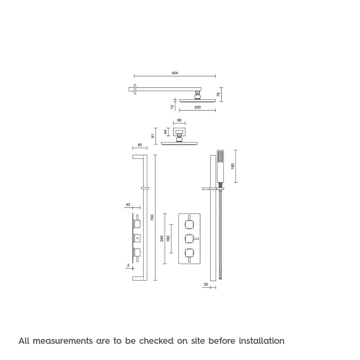Dimensions for Mode Ellis thermostatic triple shower valve complete shower set