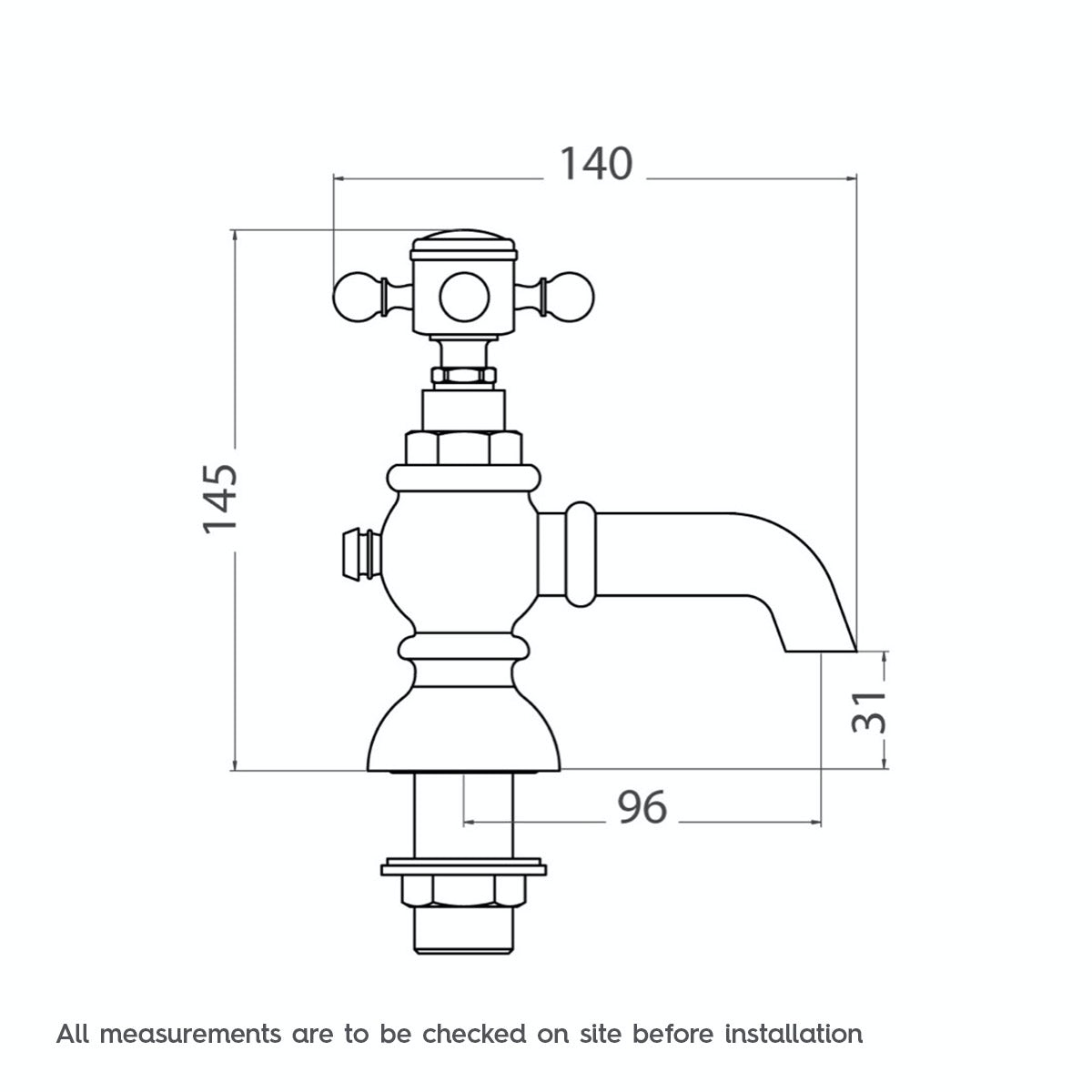Dimensions for The Bath Co. Coniston bath pillar taps