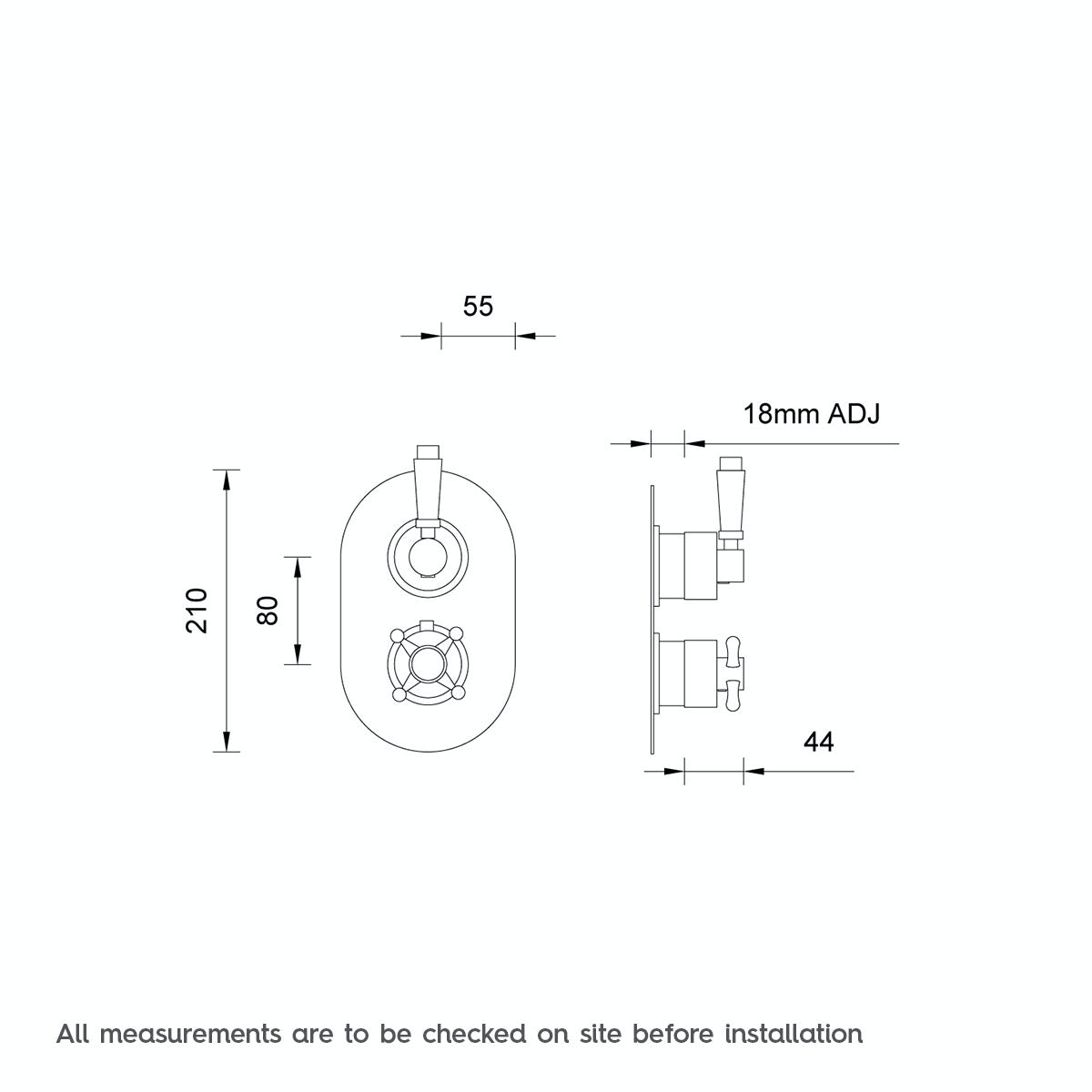 Dimensions for The Bath Co. Traditional oval twin thermostatic shower valve with diverter
