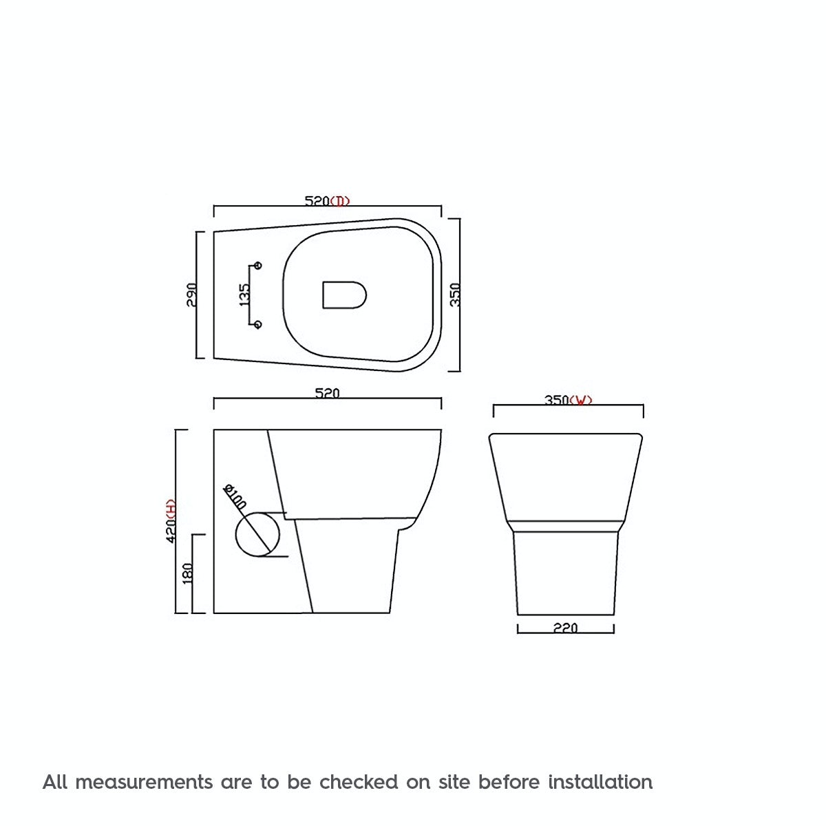 Dimensions for Mode Foster back to wall toilet with soft close seat