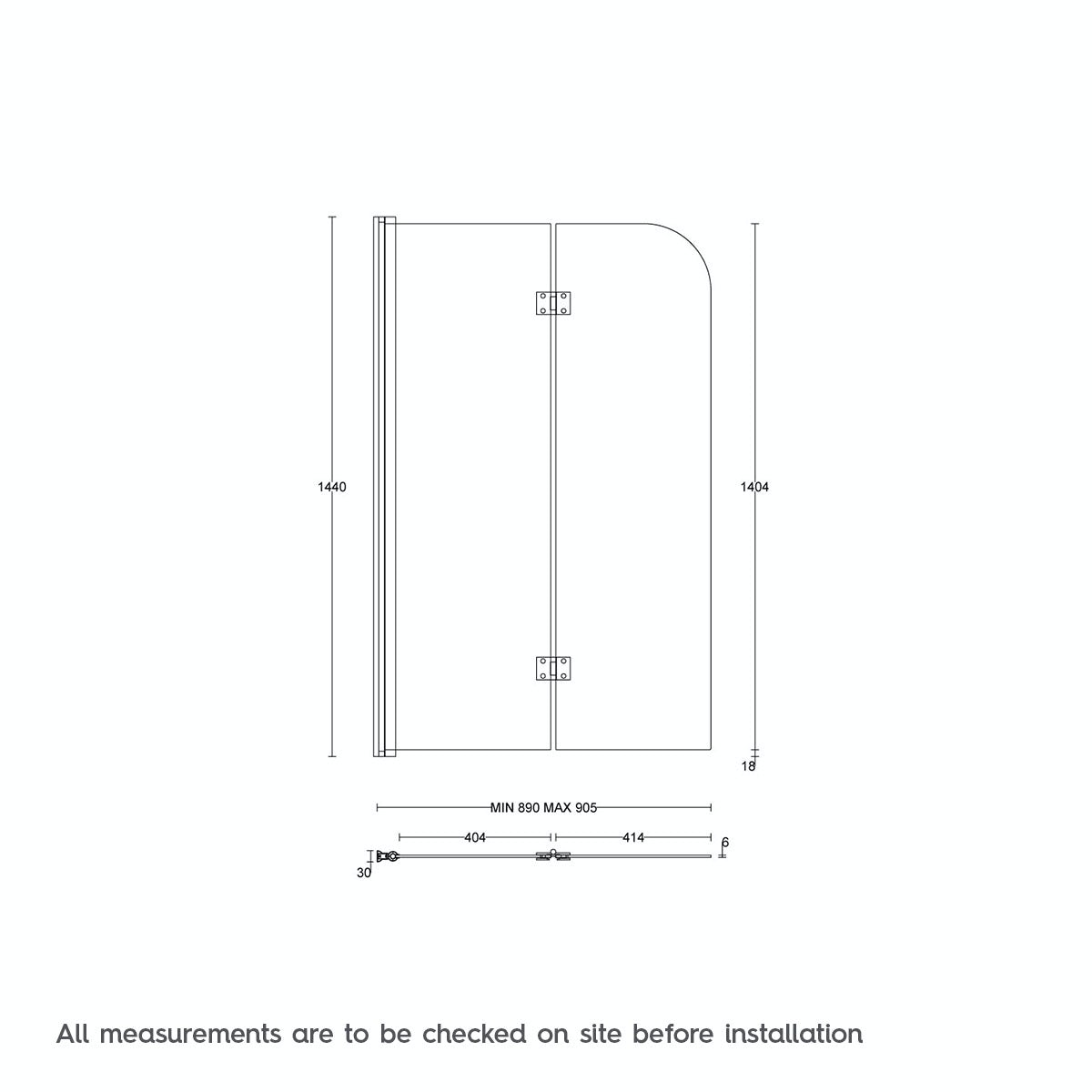 Dimensions for Orchard 6mm hinged straight shower bath screen