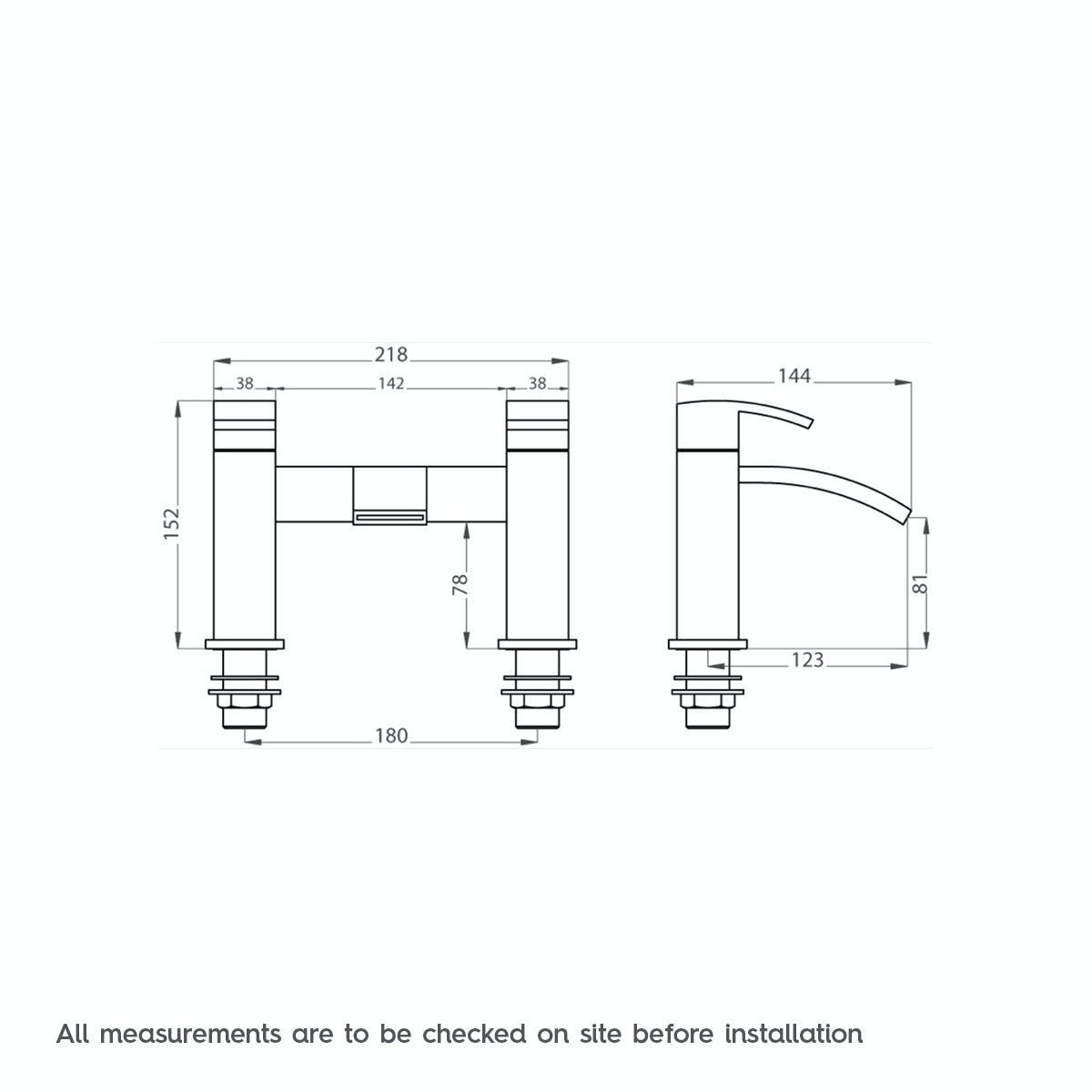 Dimensions for Orchard Century bath mixer tap