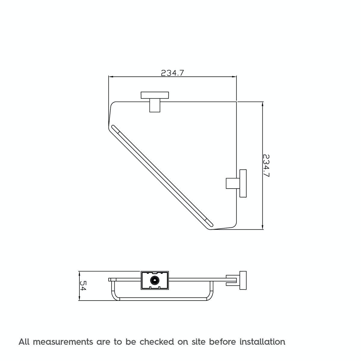 Dimensions for Cubik glass corner shelf