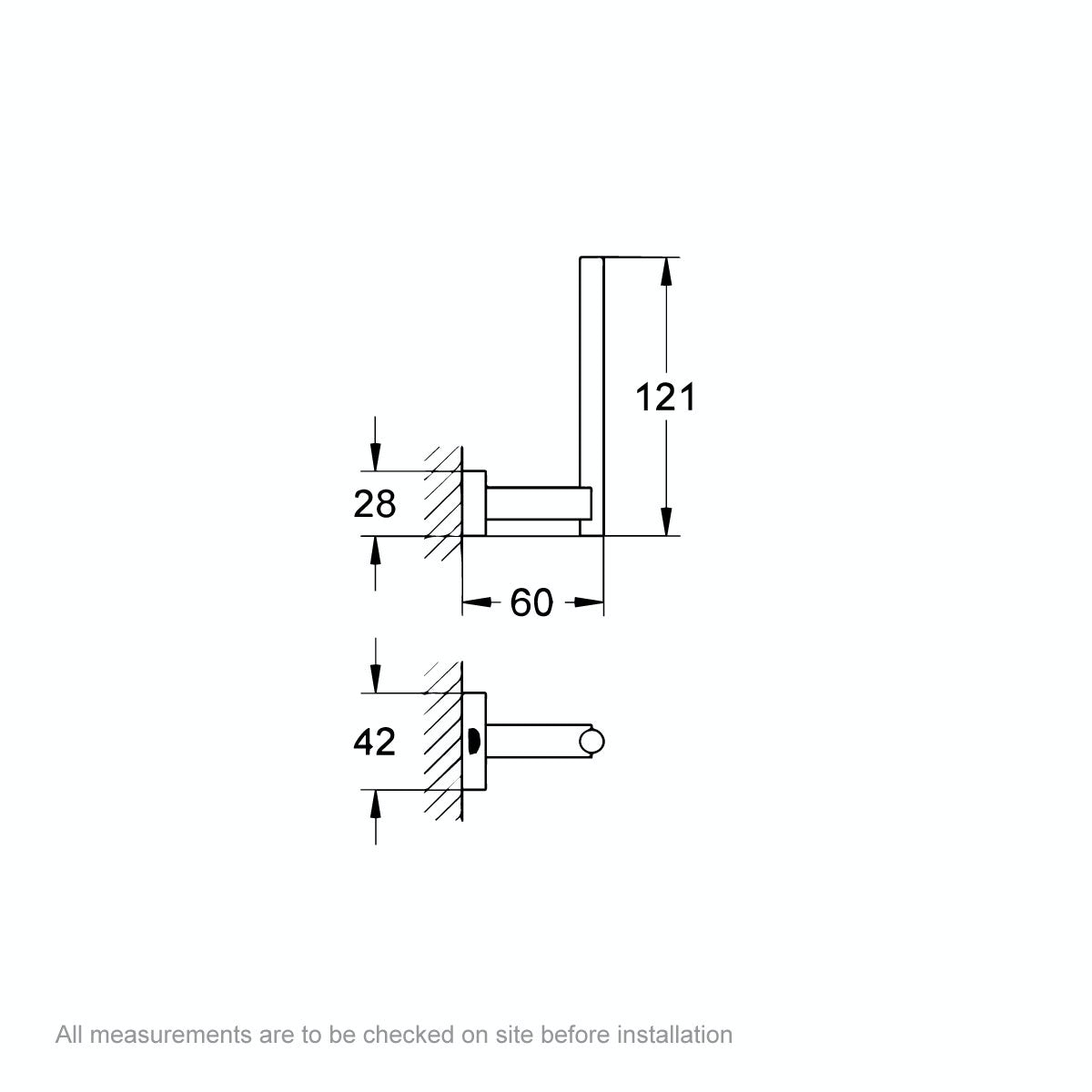 Dimensions for Grohe Essentials Cube spare toilet roll holder