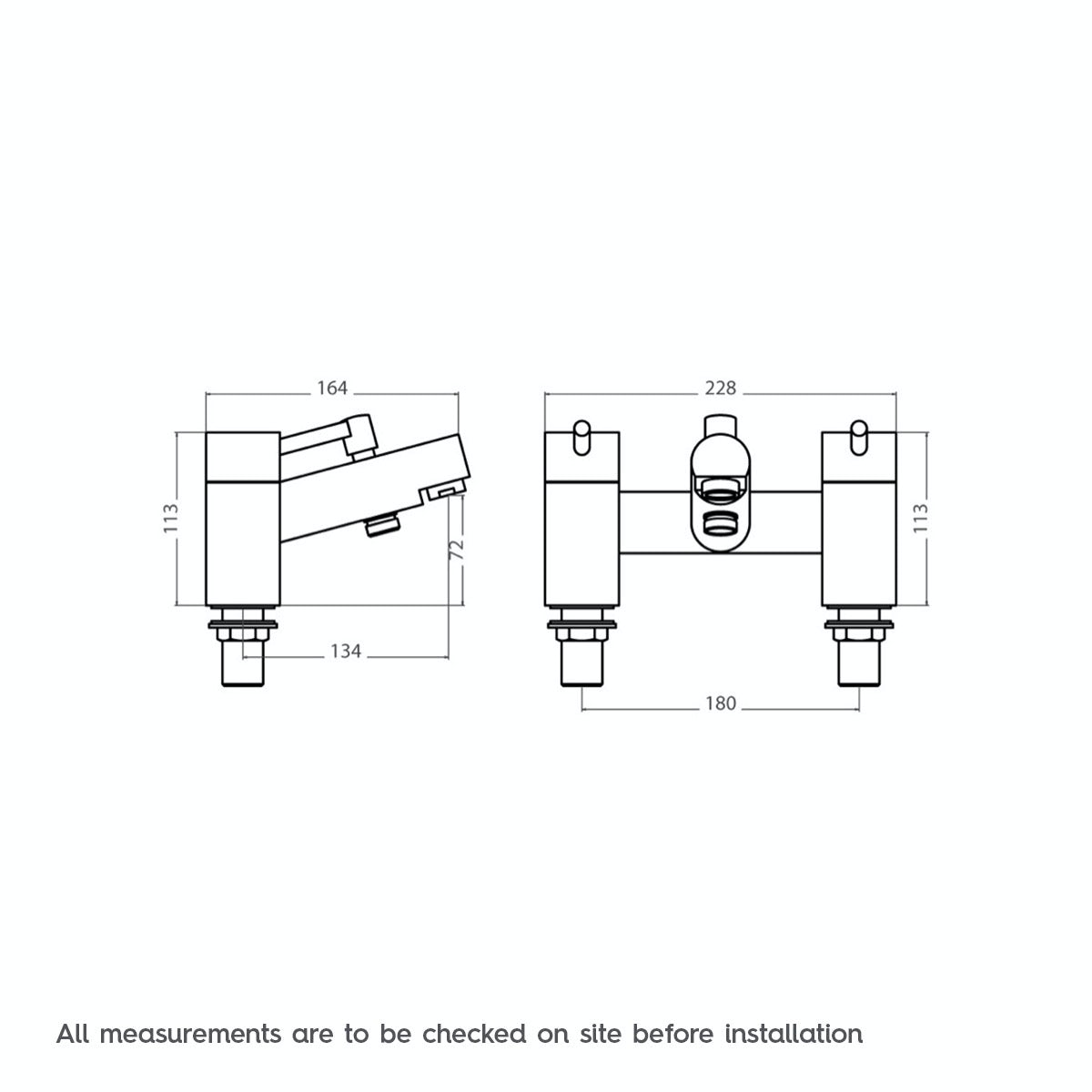 Dimensions for Orchard Matrix bath shower mixer tap