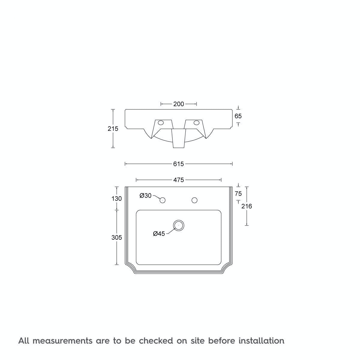 Dimensions for The Bath Co. Traditional 2 tap hole washstand with Dulwich basin