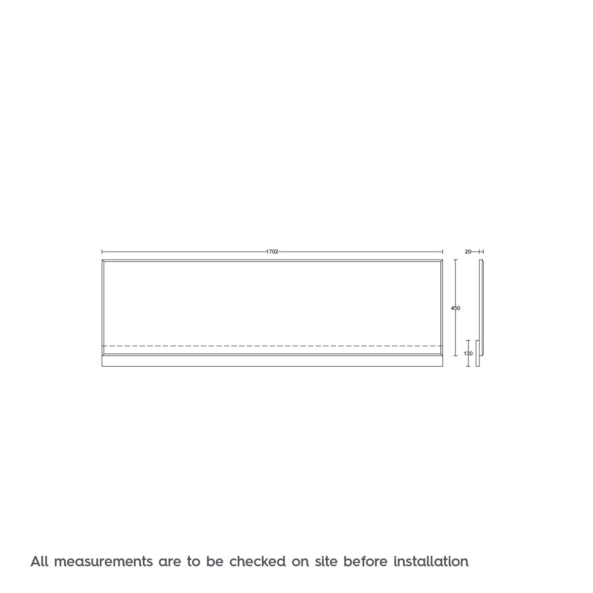 Dimensions for White wooden straight bath front panel 1700mm