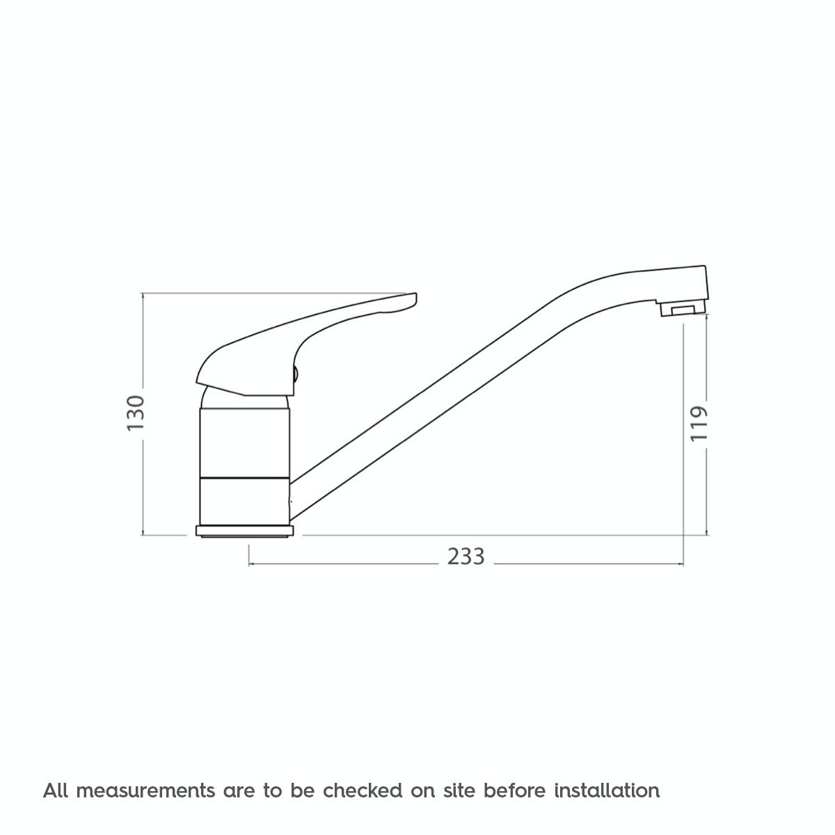 Dimensions for Clarity kitchen tap