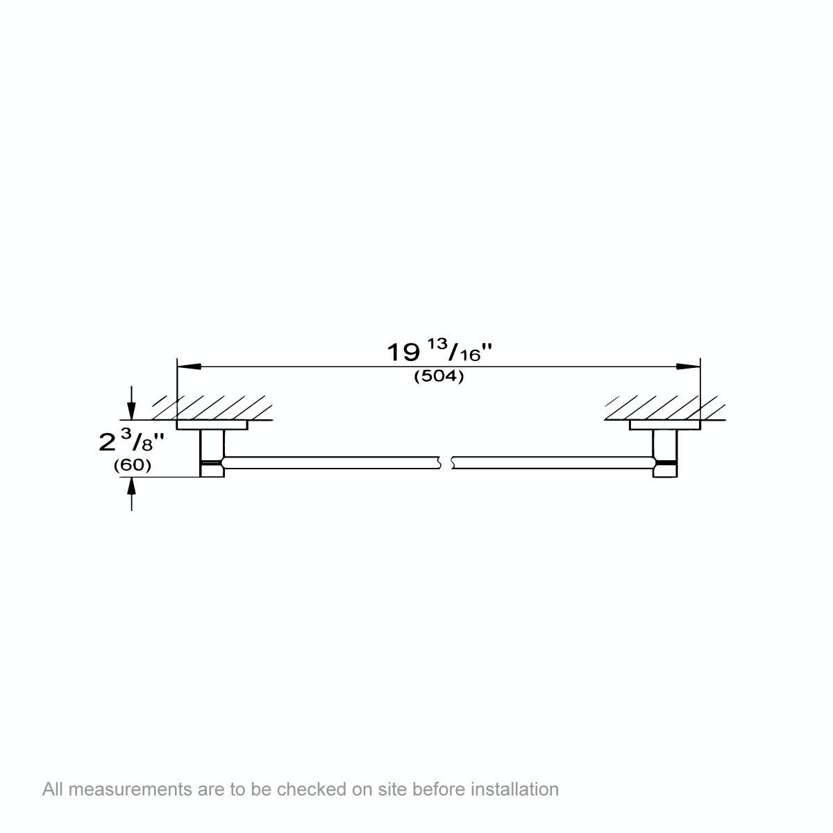 Dimensions for Grohe Essentials towel rail 450mm
