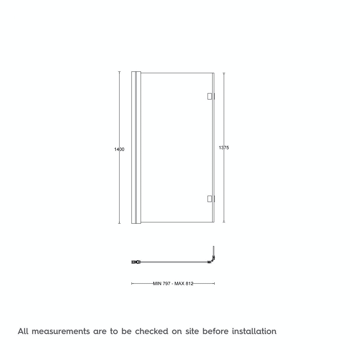 Dimensions for Mode luxury 8mm hinged L shaped shower bath screen