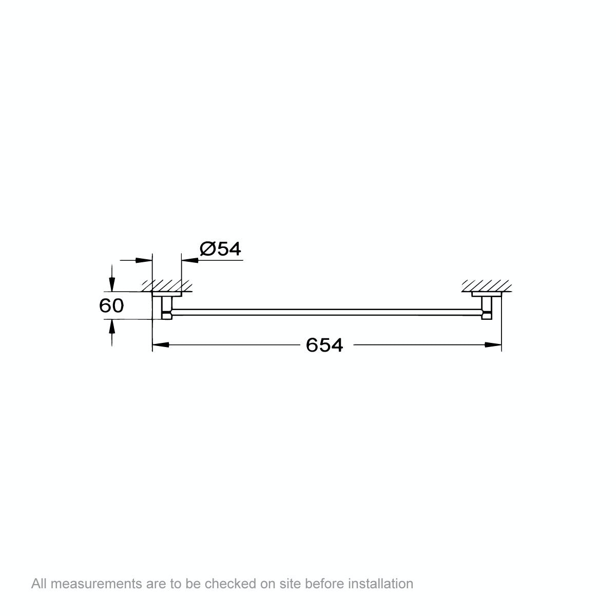 Dimensions for Grohe Essentials towel rail 600mm