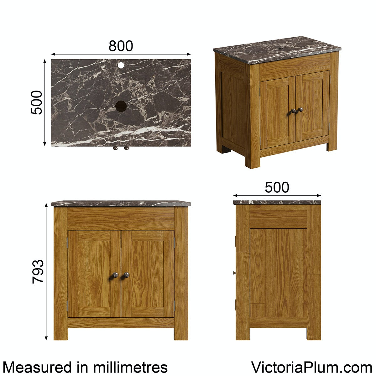 Dimensions for The Bath Co. Chester oak washstand with brown marble top 800mm