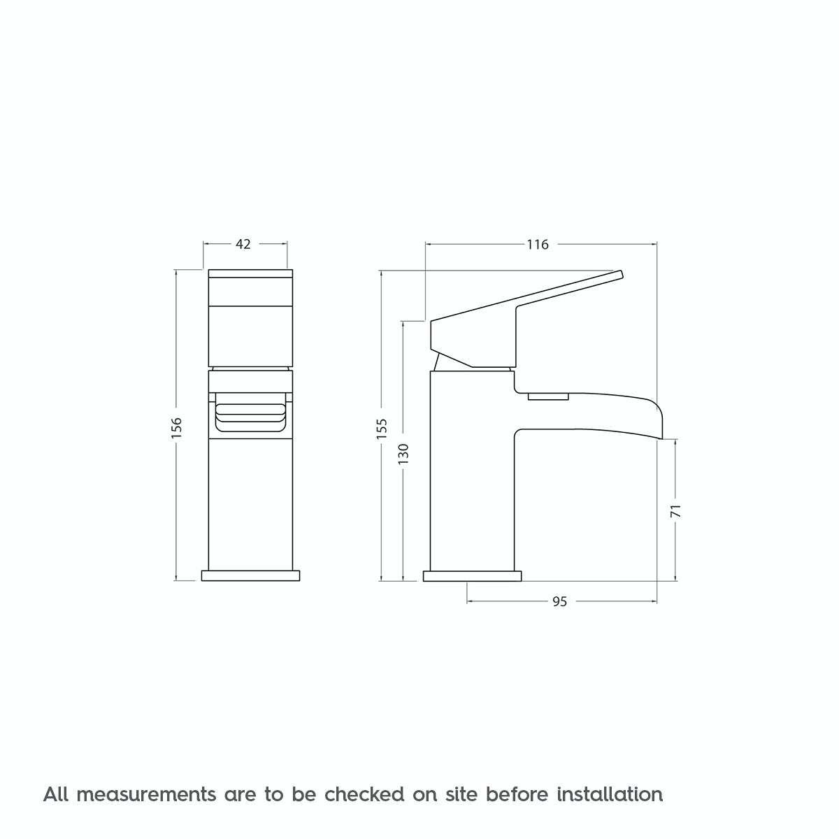 Dimensions for Orchard Wye waterfall basin mixer tap