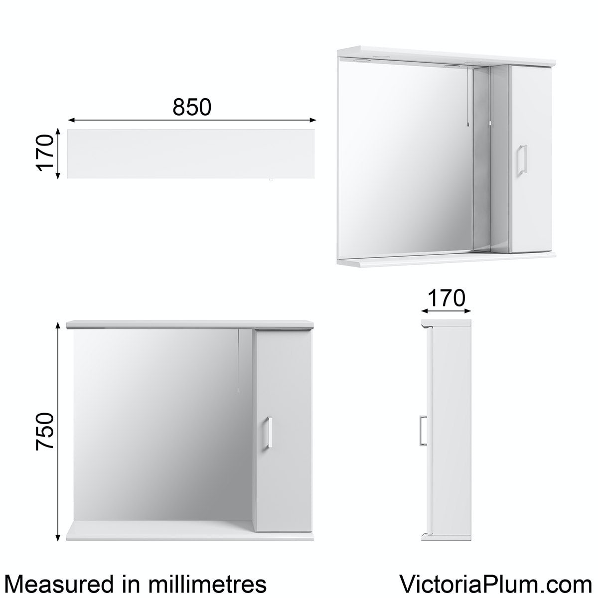 Dimensions for Sienna white bathroom mirror with lights 850mm