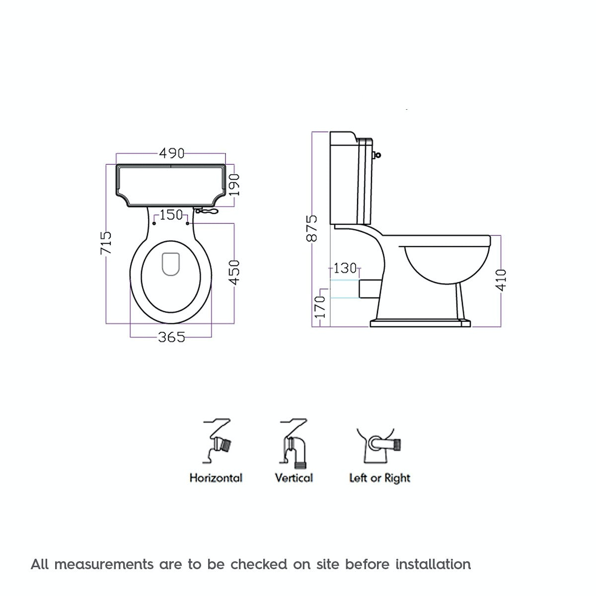 Dimensions for The Bath Co. Winchester close coupled toilet with painted wood seat white
