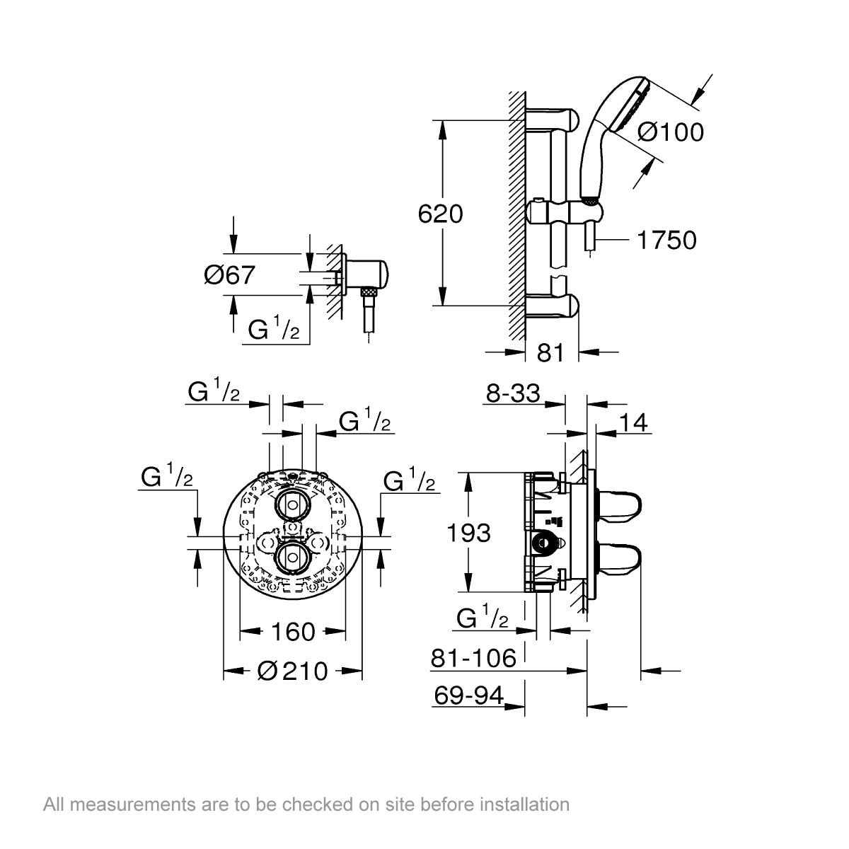 Dimensions for Grohe Grohtherm 1000 concealed thermostatic shower set with slider rail kit