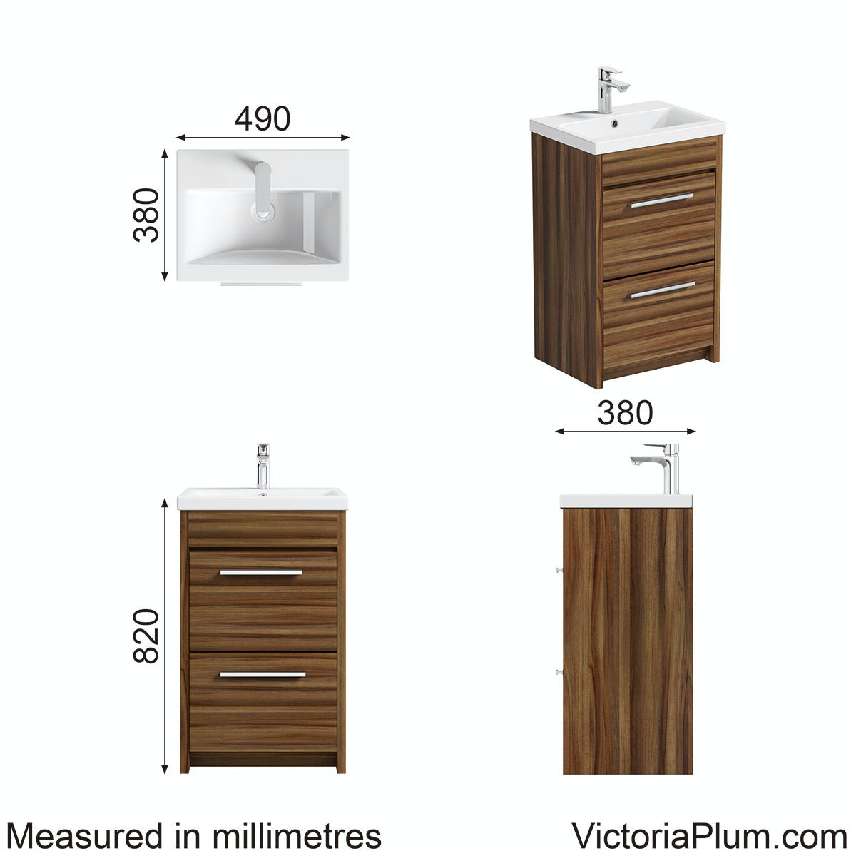 Dimensions for Clarity walnut vanity drawer unit with basin 500mm
