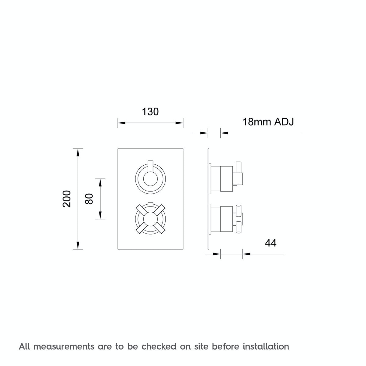 Dimensions for Mode Alexa square twin thermostatic shower valve