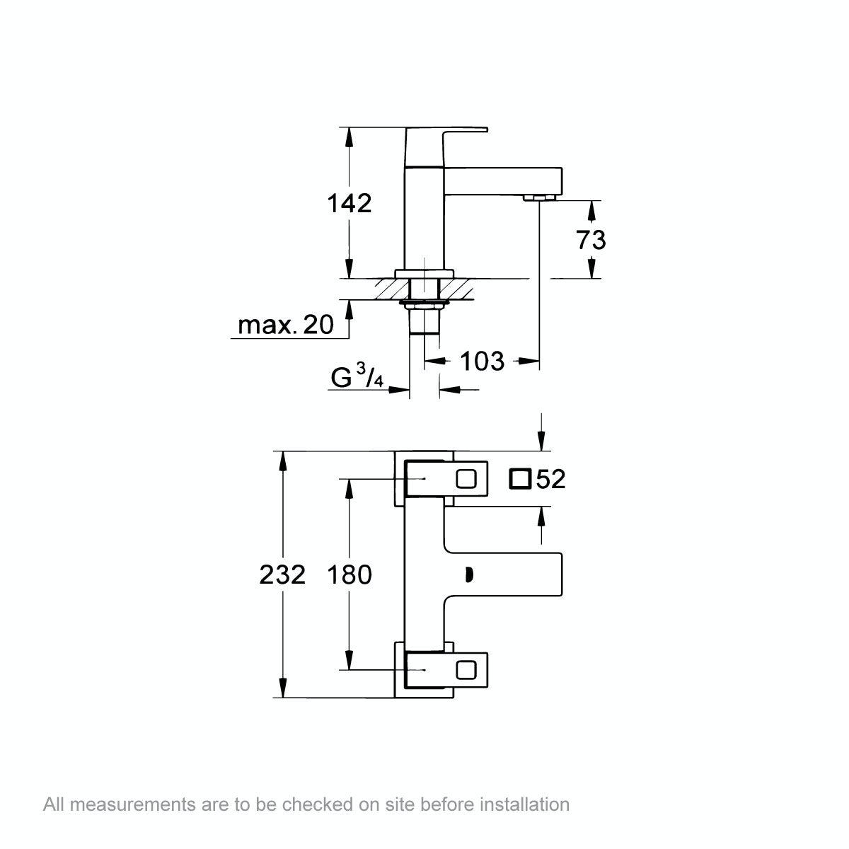 Dimensions for Grohe Eurocube bath mixer tap