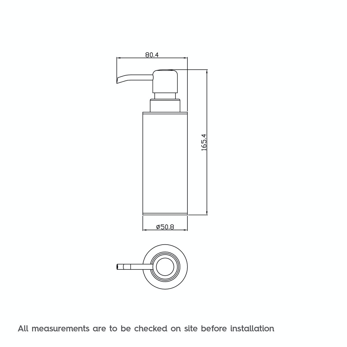 Dimensions for Orchard Options freestanding slim stainless steel soap dispenser