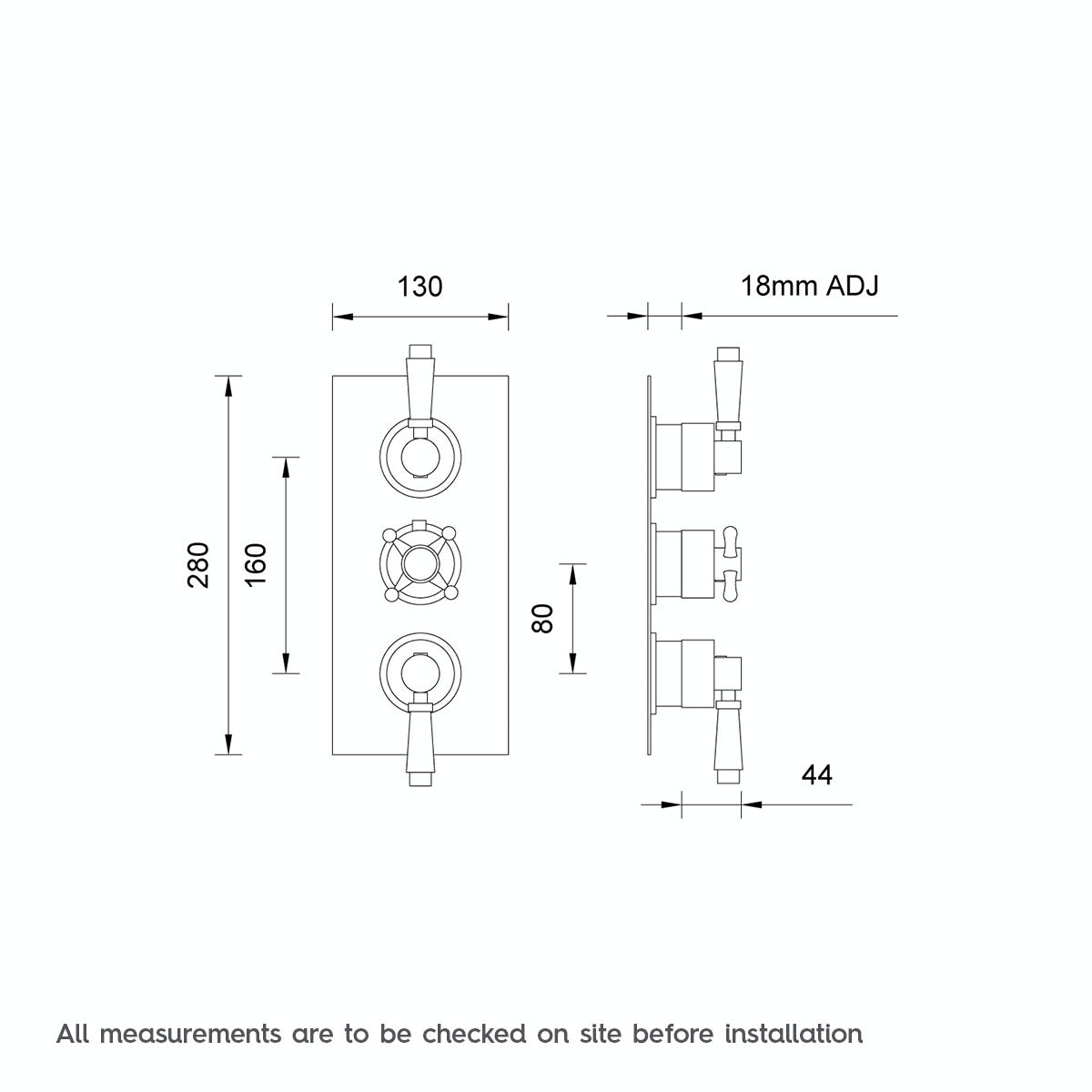 Dimensions for The Bath Co. Traditional square triple thermostatic shower valve