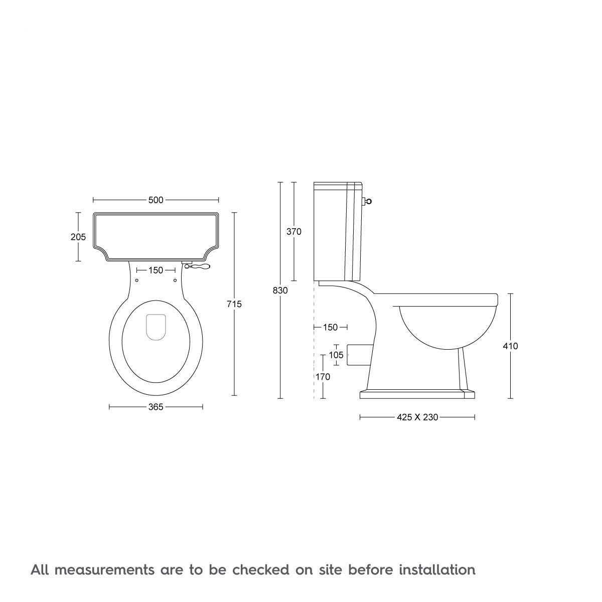 Dimensions for The Bath Co. Dulwich close coupled toilet with wooden toilet seat oak effect