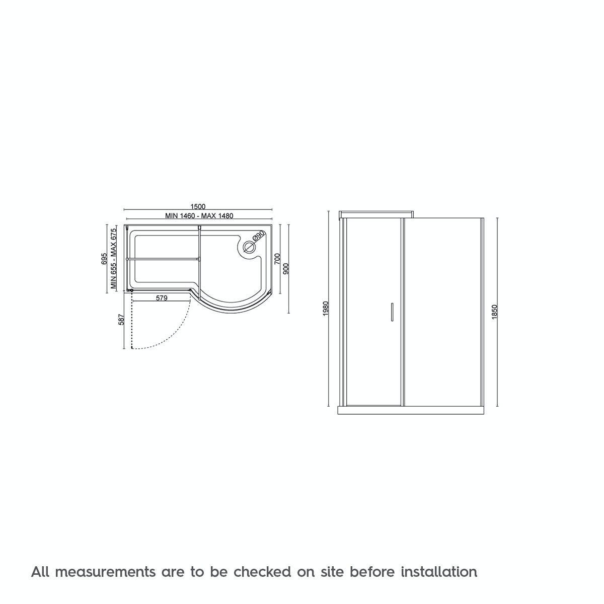 Dimensions for Orchard 6mm right handed P shaped shower enclosure 1500 x 900