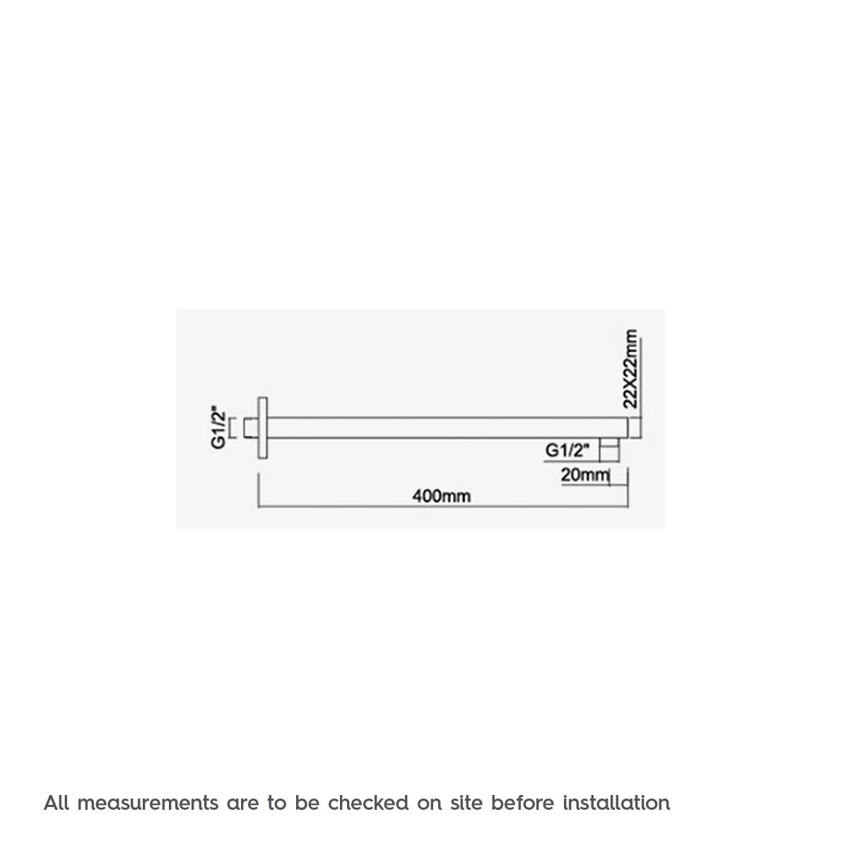 Dimensions for Square wall shower arm 400mm