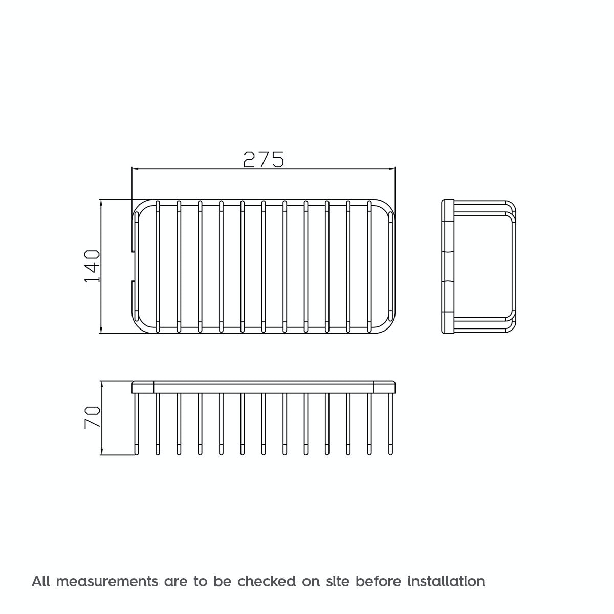 Dimensions for Orchard Options brass single rectangular shower caddy
