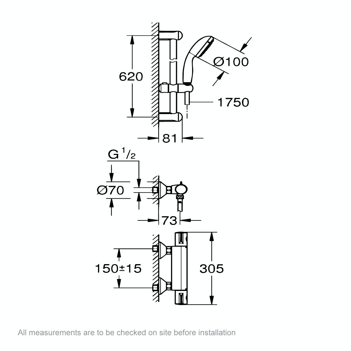 Dimensions for Grohe Grohtherm 800 thermostic shower set with slider rail kit