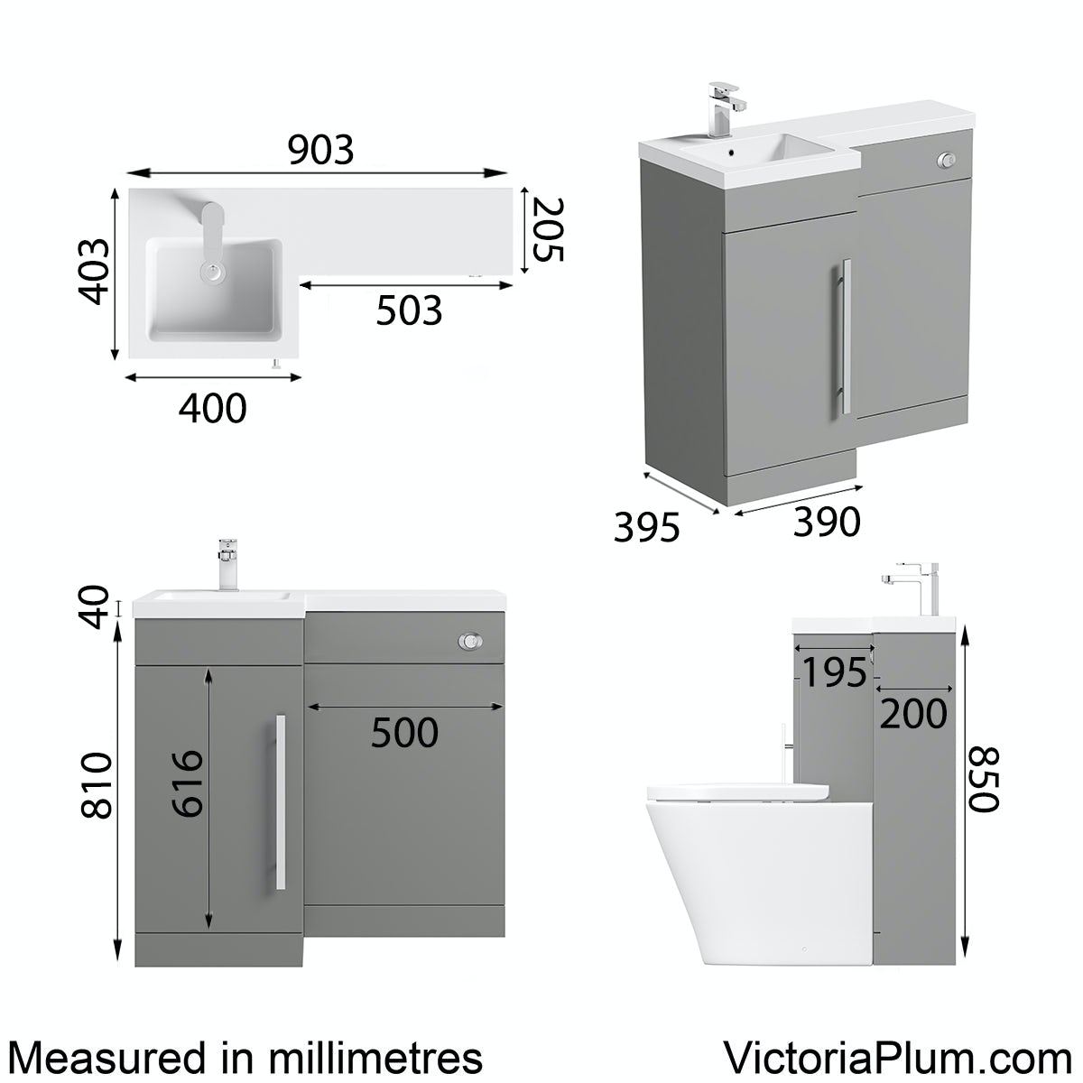 Dimensions for Orchard MySpace grey right handed combination unit including concealed cistern